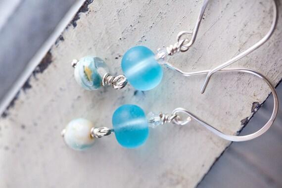 SALE Aqua Sea Glass Earrings amazonite