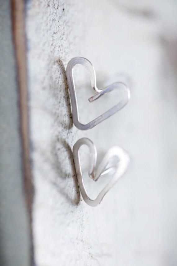 Silver Heart Post Earrings handmade hammered