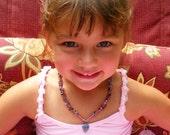 Little Girl's Necklace - Pretty Amethyst & Blue-Violet Heart