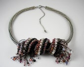 Reserved for Margie: Funky Fringed Bead & Necklace in Silver/Multi-Color