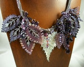 RESERVED FOR PATRICIA: Bead Weaving - Russian Leaves and Herringbone Stitch - Silver & Amethyst Necklace