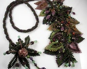 Reserved for Tammara: Beadweaving - Spiral Rope Necklace with Russian Leaves - Deep Green, Amethyst, Burgundy