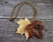 RESERVED FOR TAMMARA: Necklace of Beadwoven Maple Leaf and Real Maple Leaf Electroplated w/ 24k Gold