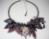 RESERVED FOR TAMMARA: Bead Weaving - Russian Leaves and Herringbone Stitch - Silver & Amethyst Necklace