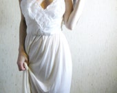 touch -  vintage 40s revived beautiful ivory organic bamboo lace dress