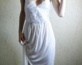 she lives on love street - vintage 1960s revived lovely ivory organic bamboo maxi lace dress