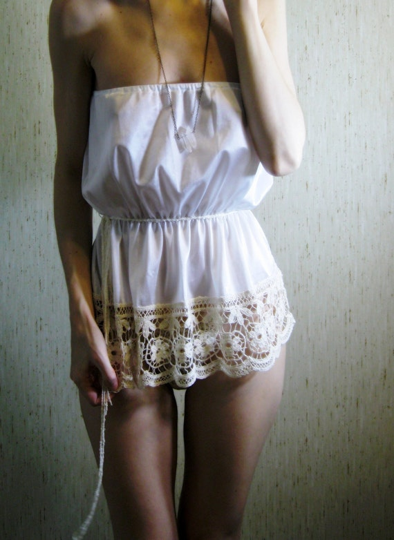 RESERVED For An - 50% OFF Holiday Sale - english tea - 1960s revived lovely white crochet blouse