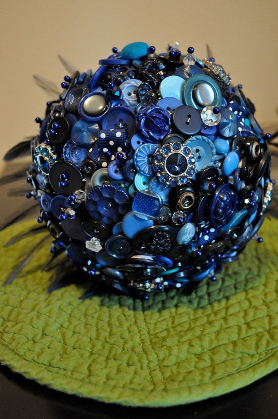Button Bridal Bouquet Etsy : Items similar to custom button bouquet with feathers on etsy