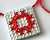 Embroidered urban necklace. Square red metal foil City style OOAK