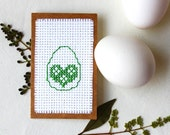 Rustic Easter cards set of 3 Green embroidered eggs flower bunny rabbit