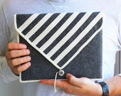 iPad felt case. iPad sleeve. iPad bag. iPad cover. Organic striped zebra grey and white unisex urban city style