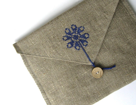 Warm case for iPad 1 or 2 organic padded grey cobalt embroidered Ready for shipping OOAK gift under 50