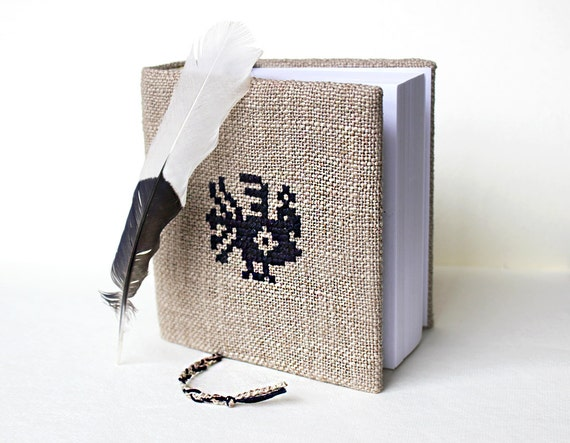 Peacock Hand's embroidered fabric covered notebook or journal with bookmark Winter holiday gift