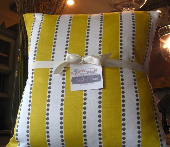 """NEW for Summer-Colorful Designer Fabric in a Yellow and White Stripe-20x20""""- One of the few stores that provides the insert"""