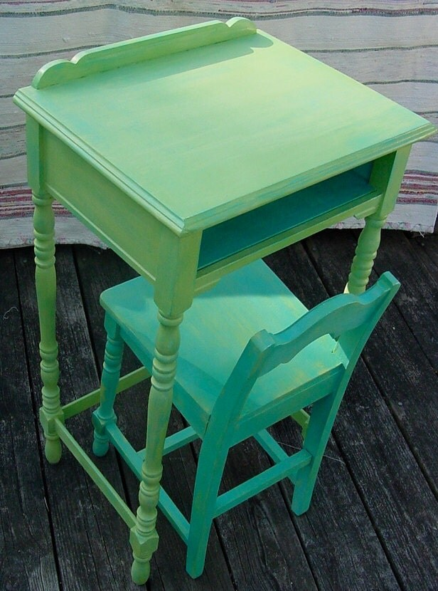 Upcycled Vintage 1940 S Telephone Table And Chair Painted