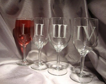 Custom Etched Wine Glasses - Set of 4 - Roman Numeral Wine Glasses - Wine Gift - Anniversary Gift - Gift for the Couple
