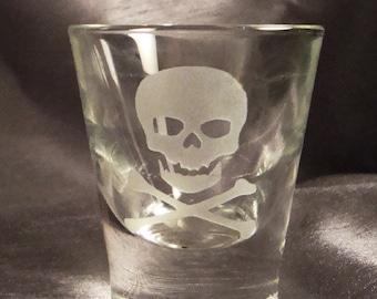 Custom Etched Skull and Crossbones Shot Glasses - Set of 4 - Pirate Shot Glasses - Shooters - Etched Shot Glasses - Custom Shot glasses