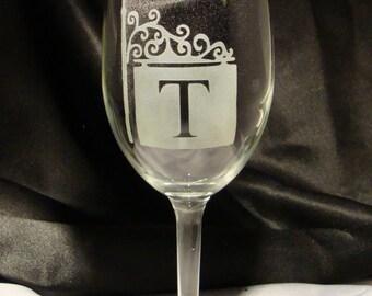 Custom Personalized Monogrammed Wine Glasses - French Quarter Inspired Personalized Wine Glasses - Set of 4 - Anniversary Gift