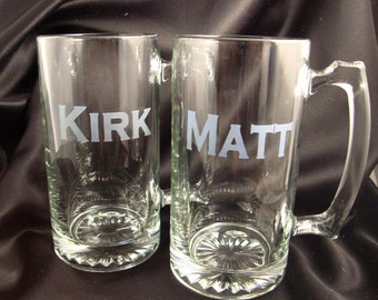Personalized Etched MEGA Beer Mugs - Set of 8