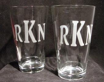 Set of 2 Etched Monogramed Pint Glasses