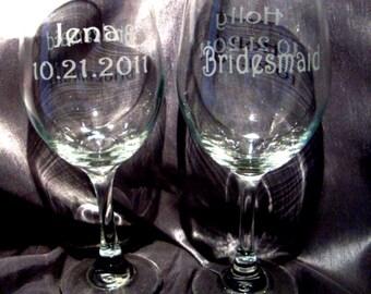 Custom Etched Large Wine Glasses - Set of 8