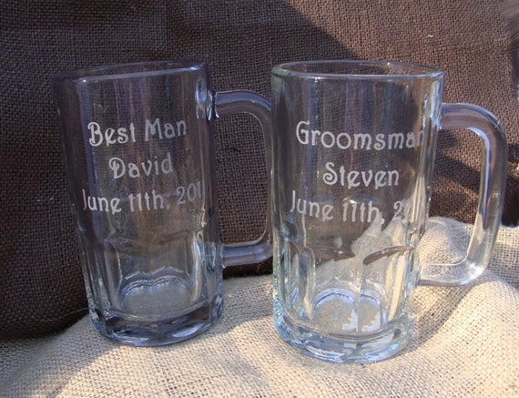 Cheap Personalized Wedding Beer Mugs : Set of 4 Wedding Party Personalized Beer MugsWedding Discount