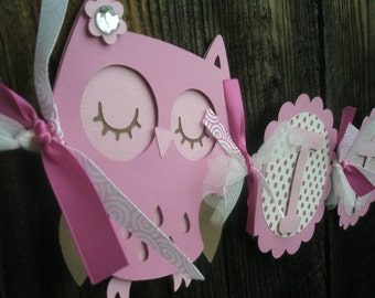It's A Girl Owl Banner - Morgan Collection