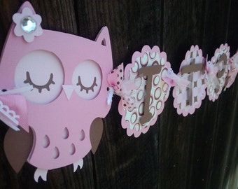 It's A Girl Owl Banner. Baby Shower Banner. Owl Birthday Banner. Baby Girl Banner. Baby Shower Decorations. Owl Decorations. Birthday Banner