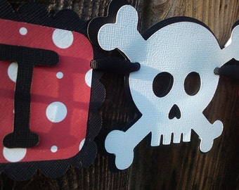 """Pirate theme """"I Am One"""" Highchair Banner in Red,Black and White"""