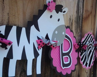 Custom Zebra Name Banner in Hot Pink, Black and White
