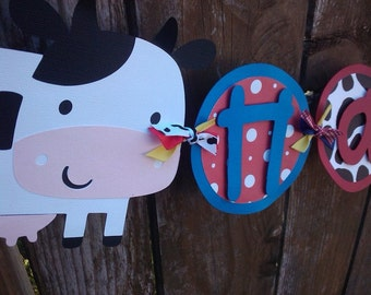 Farm Animals Happy Birthday Banner in red, yellow, blue & cow print.
