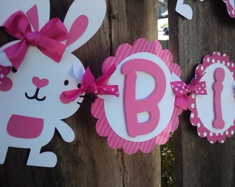 Bunny Birthday Banner, polka dot banner, OR pick Your Own Theme banner