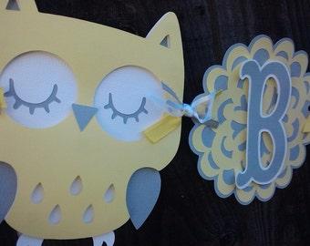 Owl Baby Shower Banner, gender neutral, yellow and gray banner.  Baby Shower Decorations.  Owl Decorations.  Gender Neutral Baby Shower
