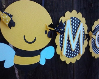 Mommy To Bee baby shower banner.  Gender neutral baby banner