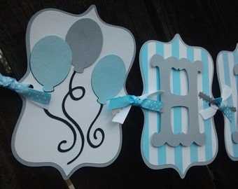Balloon Happy Birthday Banner in gray, blue & white OR Pick Your Own Colors and theme
