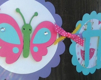Girls Happy Birthday OR Name banner. Butterfly and Flower theme. Butterfly Banner. Flower Banner. Garden Party. Bug Birthday. Garden Banner.