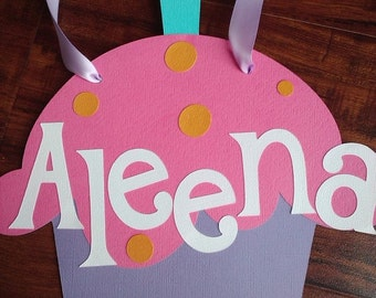 CUSTOM Cupcake, Candy Theme Door sign