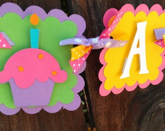 "Cupcake, Sweet Treets ""I Am One"" Highchair Banner in bright colors OR Pick your Own Colors"