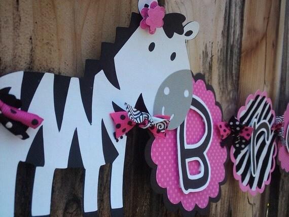 Custom Zebra Name Banner in Hot Pink, Black and White