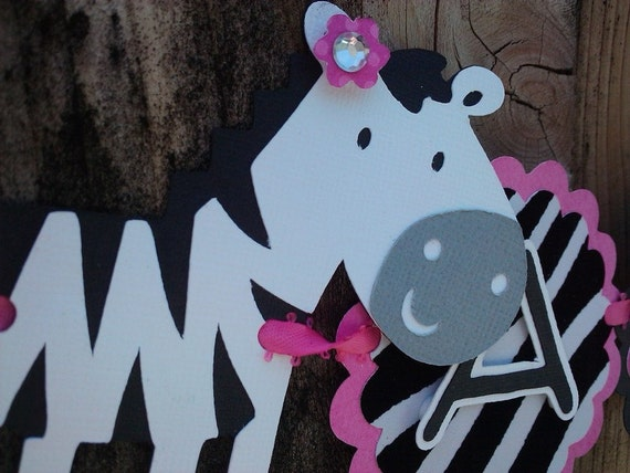 """Zebra """"I Am One"""" Highchair Banner, hot pink black and white OR pick your colors"""