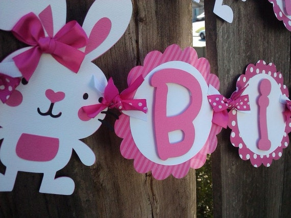Bunny Birthday Banner, polka dot banner, OR pick Your Own Theme banner