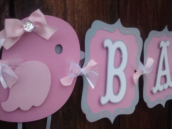 Bird Baby Shower Banner, pink and gray
