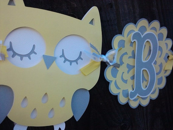 Owl Baby Shower Banner, gender neutral, yellow and gray banner.  Baby Shower Decorations.  Owl Decorations.  Gender Neutral Baby Shower