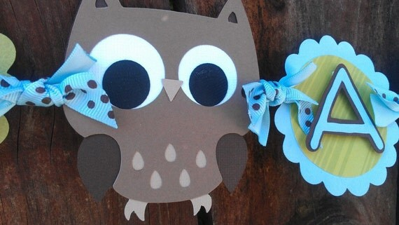 "Owl Boy ""I Am One"" Highchair Banner in Blue, brown & green OR Pick your Own Colors"