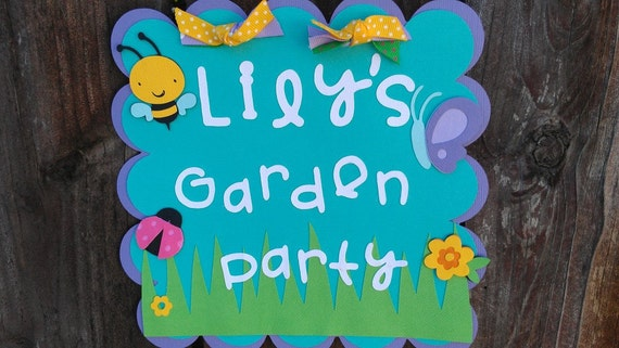 Garden Party, Bug and flower theme Door sign in bright colors
