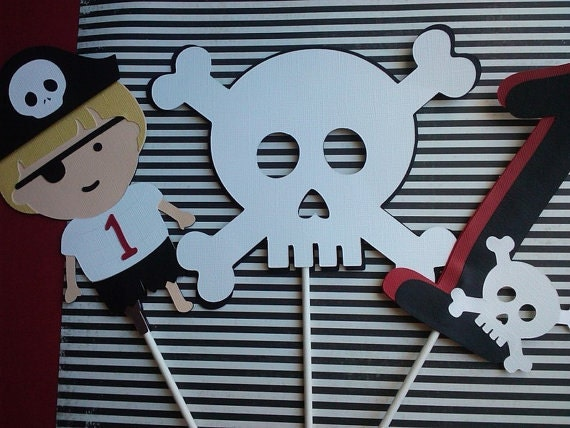 Pirate Theme Birthday Centerpiece set of 3