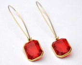 Earrings Vintage Ruby Red Acrylic Drop Summer Jewelry