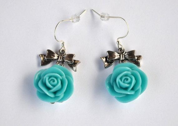 Turquoise Aqua Rose Dangle Earrings Bow Flower