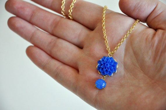 Cobalt Blue Flower Necklace Cabochon Gold Plated Delicate Jewelry