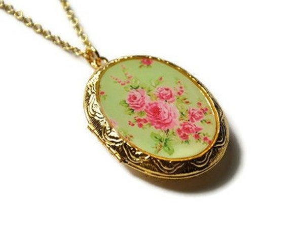 Spring Fashion Locket Necklace Gold Tone Green Pink Vintage Style Pastel Floral